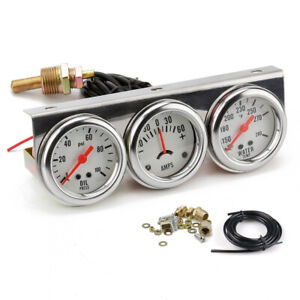 52mm Chorme Car Triple Gauge Kit Oil Pressure Degrees F Water Temp Ammeter White
