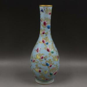 Beautiful Chinese Antique Famille Rose Porcelain Pumpkin Vase