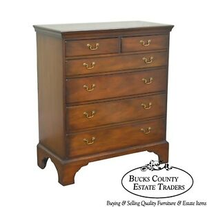 Kittinger Colonial Williamsburg Adaptation Mahogany Chippendale Style High Chest