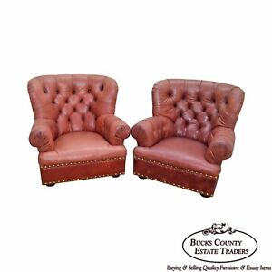 Polo Ralph Lauren Tufted Leather Pair Of Writers Lounge Chairs