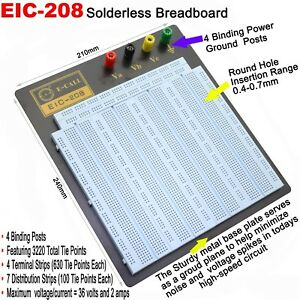 3220 Pins Solderless Breadboard Protoboard Pcb Test Board Professional 4 Posts