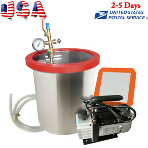 5 Gallon Vacuum Chamber 3 Cfm Pump silicone Pad 5 Foot Hose air Filter lid