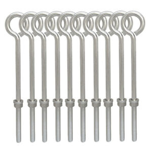 10 Pc Stainless Steel Forge Style 5 16 X 8 Turned Eye Bolt Rigging Ring Lift