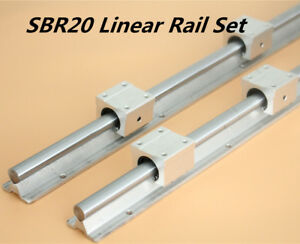 2x Shaft Sbr20 L200 1500mm Linear Rail Fully Supported 4pcs Sbr20uu Bearing