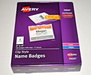 Avery Clip Style Name Badges Top Loading 3in X 4in Box Of 100 74541 New