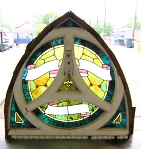 Original Antique Arched Top Stained Glass Window Vintage Architectural Salvage