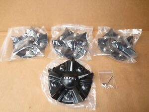 Lot Of 4 Boss Motorsports 348 Wheel Rim Center Cap 3314 Matte Black New