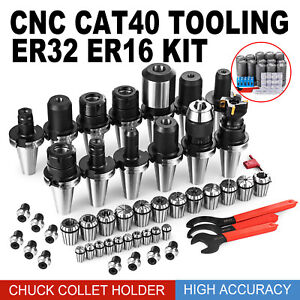 Cat 40 Er32 16 Collet Set Mill Holder Spanner Drill Chuck Cnc Milling Tooling