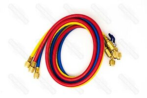 Yellow Jacket 29986 Plus Ii 72 Charging Hose ryb 3 pack W Ball Valve End