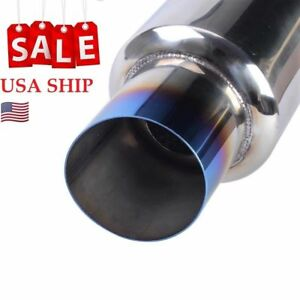 Universal Jdm Exhaust Stainless Racing Muffler Burnt Tip 2 In To 3 Outlet