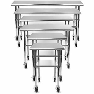 Nsf Stainless Steel Commercial Kitchen Prep Work Table W 4 Casters wheels