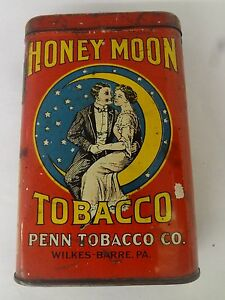 VINTAGE ADVERTISING TOBACCO HONEY MOON TWO IN THE MOON VERTICAL POCKET TIN M-109