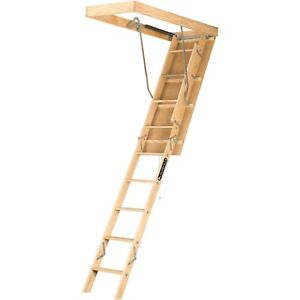 Louisville Ladder 7 Ft 8 Ft 9 In Wood Attic Ladder 250 Lbs Load Step Easy