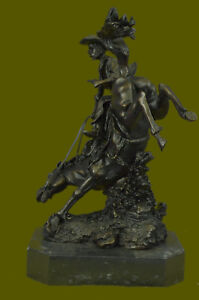 Vintage Frederic Remington Signed Bronze Sculpture Bronco Buster Statue Figurine