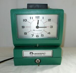 Acroprint Time Recorder Model 125nr4 Time Clock With Key Works Great