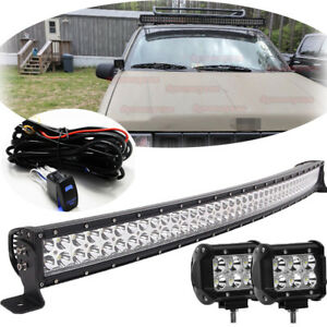 52 Curved Roof Led Light Bar W 2x Pod Light For 93 98 Jeep Grand Cherokee Zj