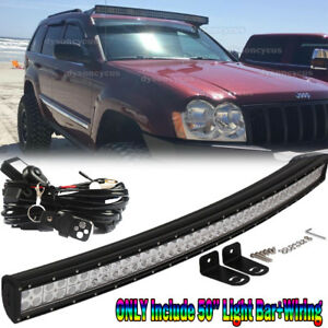 Upper Roof 50 288w Curved Led Light Bar Remote For 99 04 Jeep Grand Cherokee Wj