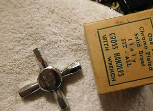 Vintage Antique Cross Italy Faucet In Box Solid Brass Hot Water Handle