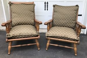 Ethan Allen Traditional Classics Husband Wife Low Arm Chairs Solid Wood
