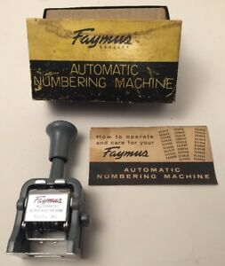 Vintage Faymus Automatic Numbering Machine Model Ac Metal Numerals Japan W Box