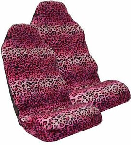 Safari Pink Leopard Print Car High Back Seat Covers One Pair