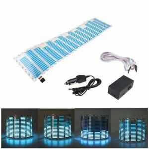 45x11cm Blue Car Sticker Music Rhythm Led Flash Light Sound Activated Equalizer