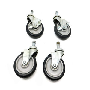 lot Of 4 Heavy Duty Plastic Industrial Swivel Casters 5 X 1 25 W 4 Brakes