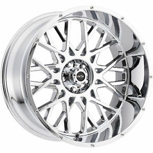 20x12 Chrome Vision Rocker 412 Wheels 5x5 5 51 Lifted Fits Ford