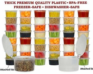 16 Oz Plastic Deli Food Containers W Hinged Lids 48 Count Box New