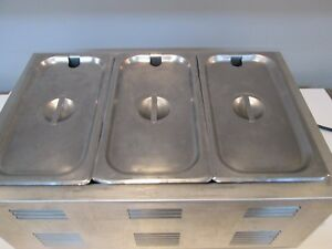 Adcraft Fw 1200w Countertop Food Warmer With 3 Pans And Lids 120v