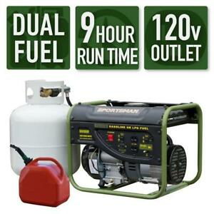 Sportsman 2000 w 3 5 Hp Portable Dual Fuel Gas Generator Home Camping Tailgating