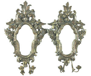 Italian Baroque Style Mirrored Sconces Antique