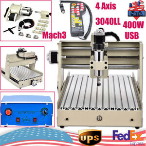 4 axis 3040 Cnc Router Engraver Engraving Usb Milling Machine Woodworking Mach3
