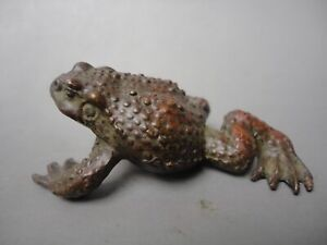 Old Chinese Bronze Copper Fengshui Wealth Animal Bufo Figurines Toad Frog Statue