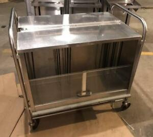 Vintage Stainless Steel Serv o lift Cafeteria Catering Tray Server Cart