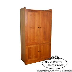Stickley Arts Crafts Style Solid Cherry Large Entertainment Tv Armoire Cabinet