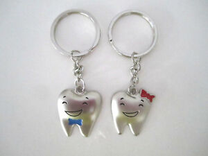 Dental Jewelry 2 Tooth Shape Key Chains Dentist Hygienist Dental Assistant Gifts