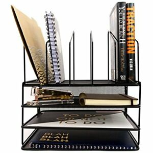 Black Wire Mesh Desk Organizer Paper Tray Vertical File Letter Inbox Office