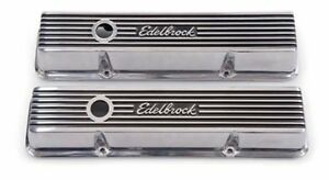 Edelbrock 4262 Elite Ii Series Low Profile Sb Chevy Aluminum Valve Covers