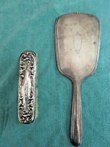 Antique Rw S Wallace Sterling Silver Brush 1900 R Blackinton Hand Mirror