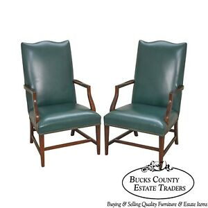 Hepplewhite Style Pair Of Green Leather Martha Washington Lolling Arm Chairs