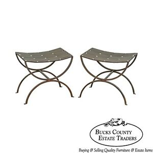 Regency Style Pair Of Wrought Iron X Benches