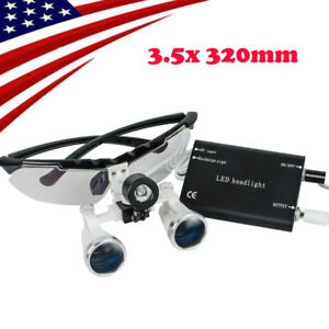 Dental Loupes 3 5x 320mm Surgical Medical Binocular Loupes Glass Head Light Lamp