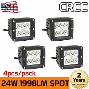 4x 3inch 24w Square Cree Led Spot Cube Work Lighting Pods Truck Jeep Offroad Suv
