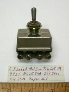 New Militarytoggle Switch Sealed 4pst Cutlerh Ms25308 222 25 Amp Cont Lot 19 Usa