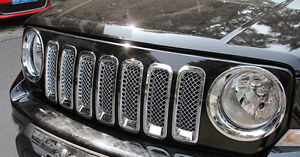 Chrome Front Mesh Grill Insert Trim Cover For Jeep Patriot 2011 2017