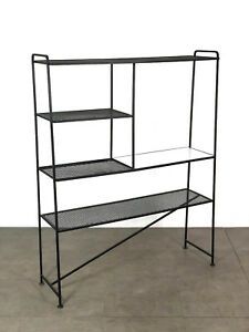 Vintage Mid Century Modern Iron Mesh Etagere Wall Unit Room Divider Shelving 50s