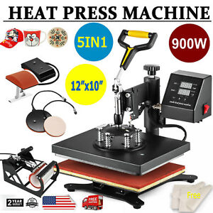 5 In 1 Digital Heat Press Machine For T shirt mug plate Hat Printer