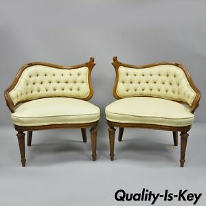 Pair Vtg Yellow Hollywood Regency French Style Wing Back Lounge Parlor Chairs