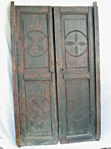 Antique Spanish Colonial Paneled Doors With Original Hardware 18th C